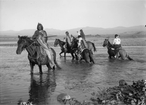 thebigkelu:NNative American (Ute) scout party, mounted on horseback, as they cross the Los Pinos River, La Plata County, Colorado - Poley - 1899 (picture # 3)