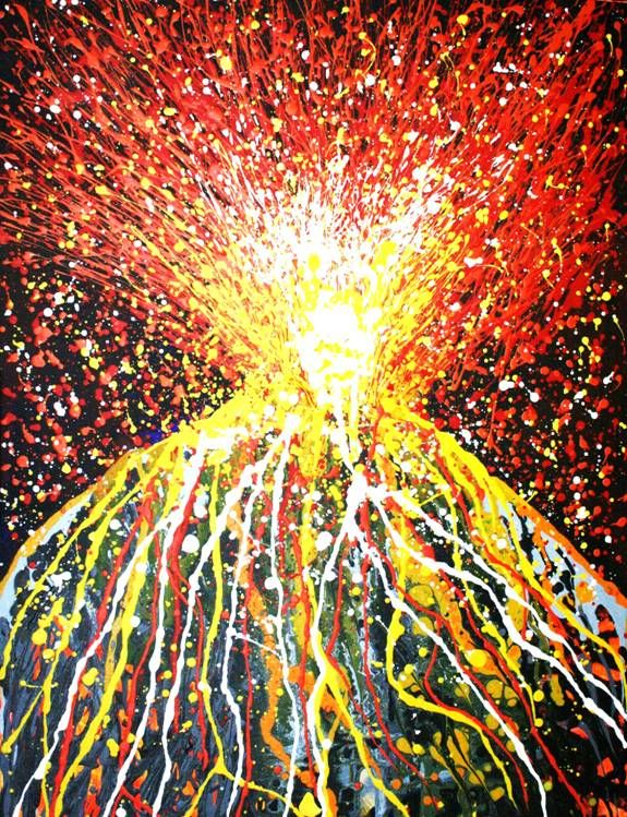 Volcano painting explosive art volcano art google for Painting craft projects