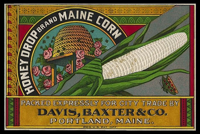 Label, embossed -- Honey Drop Maine Corn