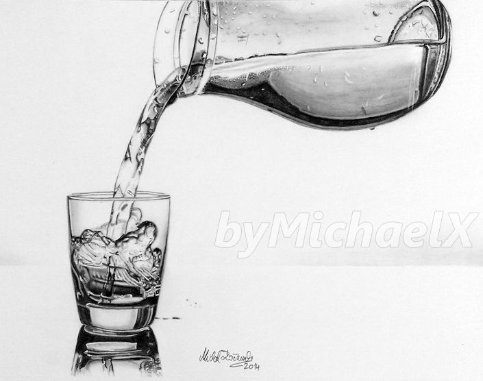 Glass & Water Drawing by Pepei (Poland) | Single Object ...