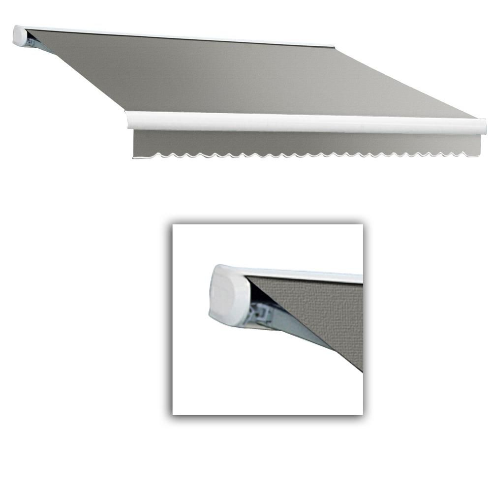 Awntech 12 Ft Key West Full Cassette Right Motor Retractable Awning 120 In Projection In Gray Retractable Awning Fabric Awning Framed Fabric