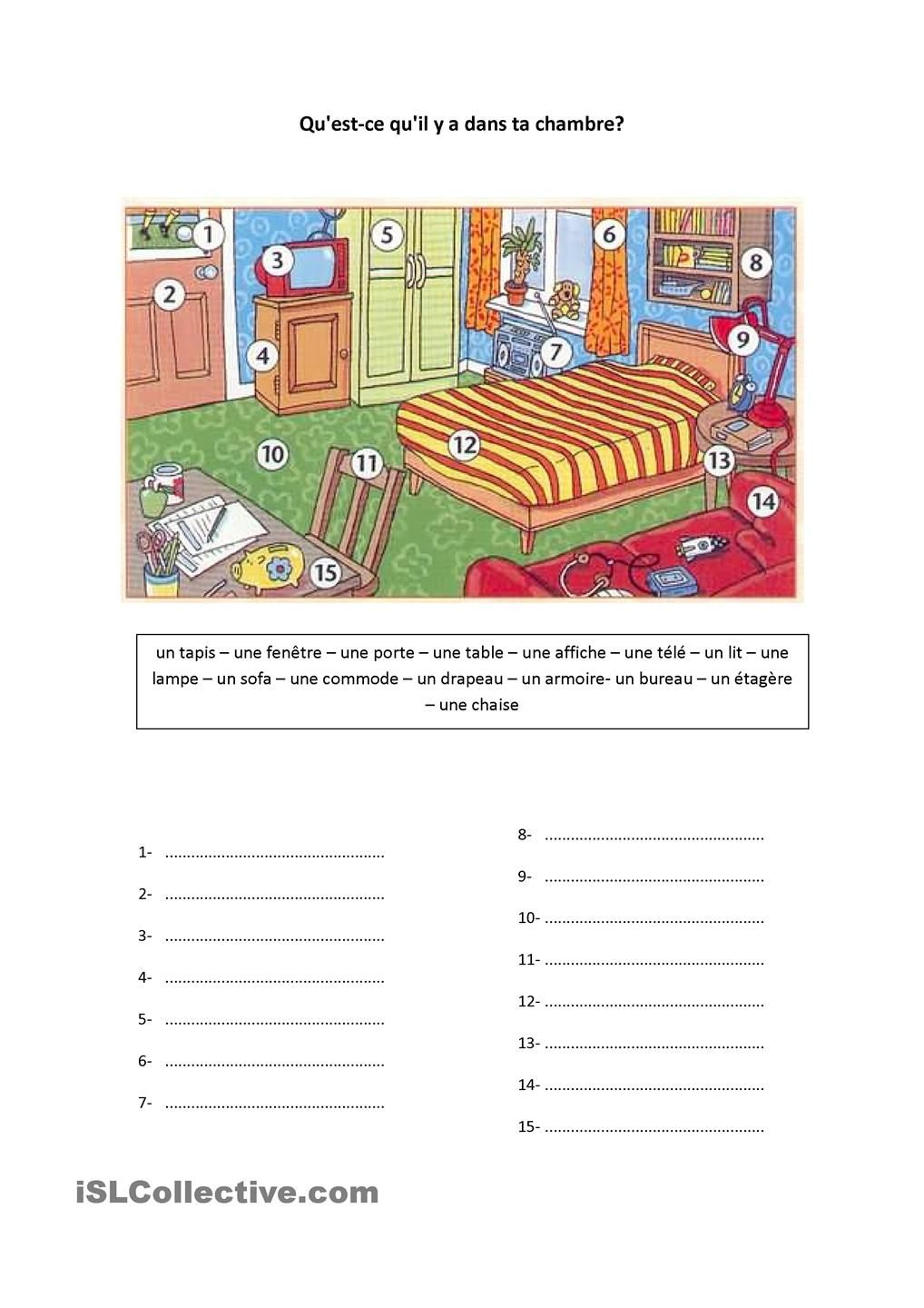 Questce quil y a dans ta chambre  French ideas  French worksheets French resources French
