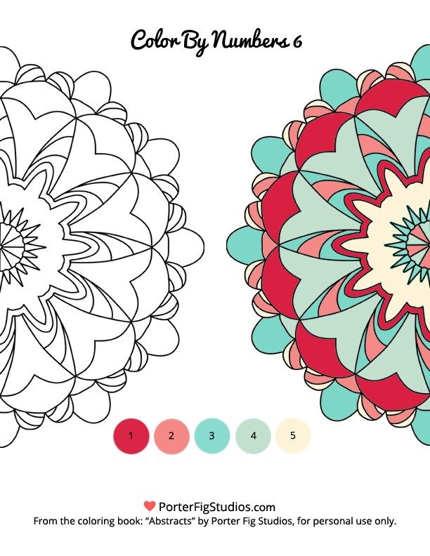 Free Mandala Coloring Page Color by Numbers 6