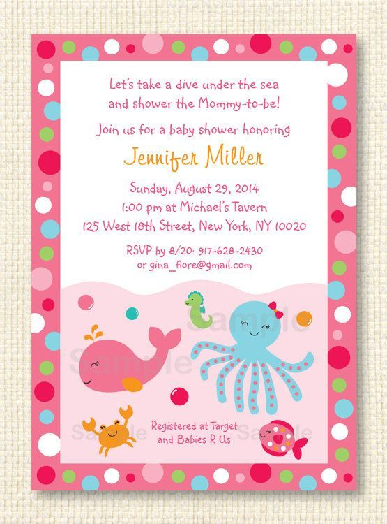 Pink Under The Sea Baby Shower Invitation PRINTABLE Print Your Own Baby  Shower Printable Octopus Crab Seahorse Under The Sea Baby Girl Nautical  Under The ...