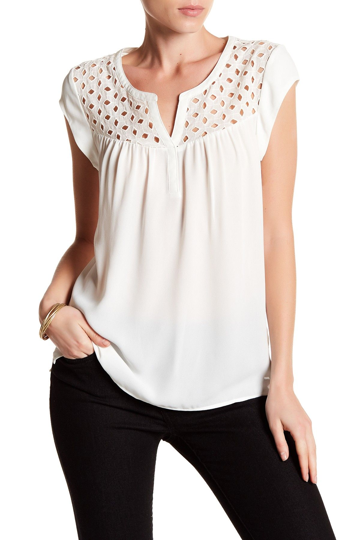3a3e31a88d95bd DR2 by Daniel Rainn | Eyelet Yoke Short Sleeve Blouse | Products