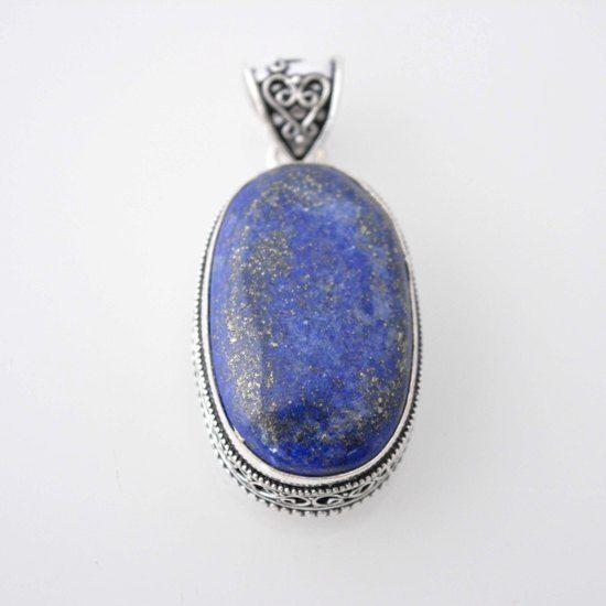 Beautiful Vintage Look Afghan Lapis Lazuli For All Silver Overlay Pendant E927 #925silvercastle #Pendant