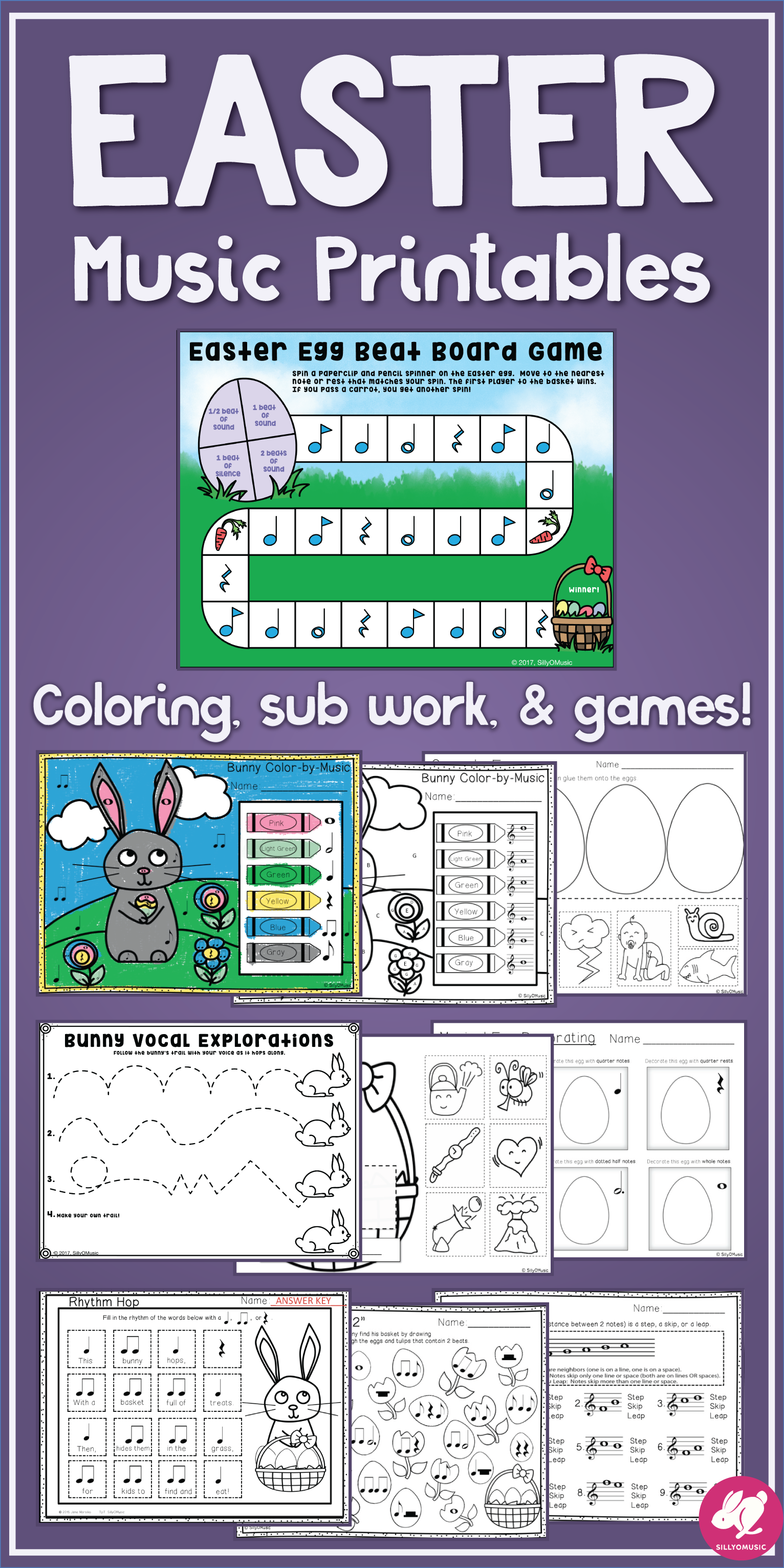 Easter Music Activities Worksheets Printable Games Glyph