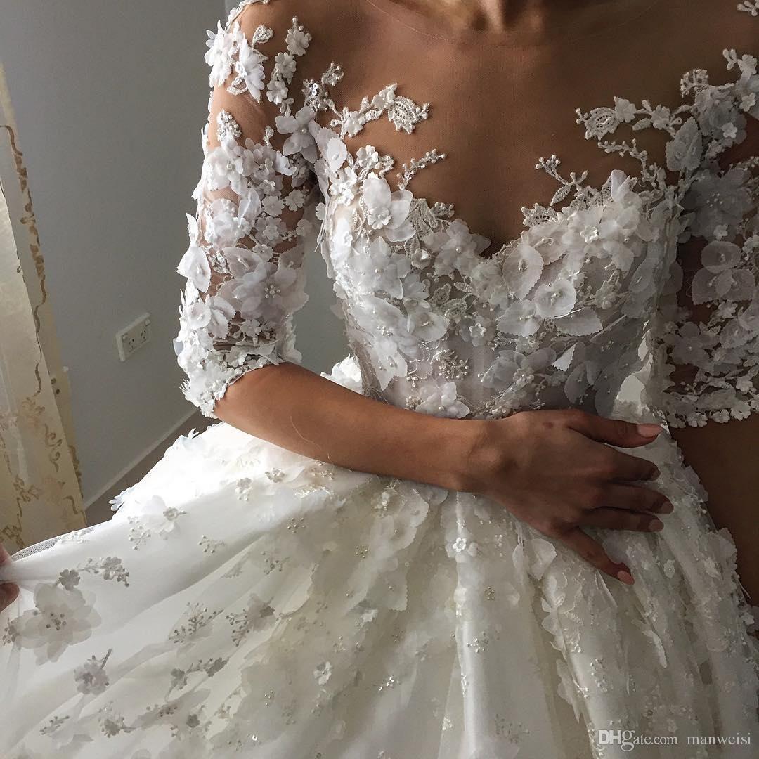 Luxus Ballkleid Kristall Brautkleider Halbe Hülse 3D-Floral Appliques Spitze Brautkleider Gericht Zug Plus Size Brautkleid #spitzeapplique