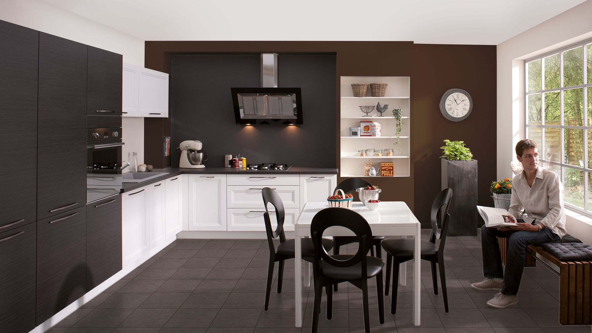 Cuisine noir blanc mur chocolat home more pinterest - Cuisine couleur vanille ...