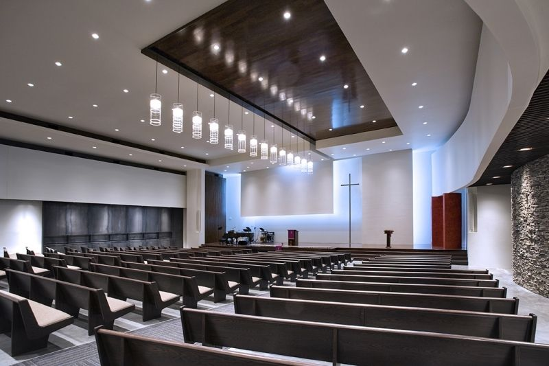 Modern church interiors architechnophilia church for Church interior designs pictures