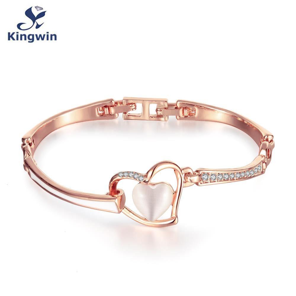 Heart opal charm bracelets love bangles fine quality rose gold chain