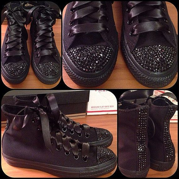646d520ea7b8 ADULT all black Bling Converse by Munchkenzz on Etsy