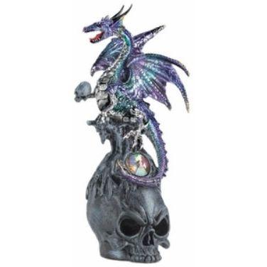 Mystical Jeweled Dragon Skull Figurine