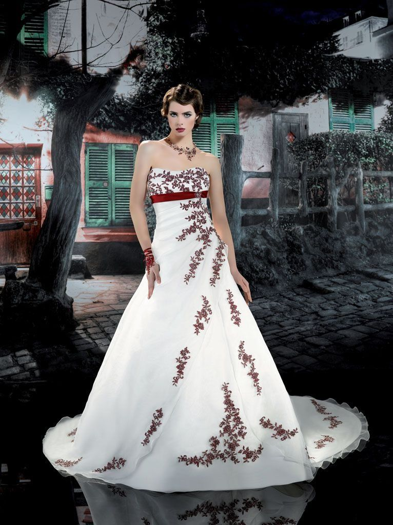 Burgundy And White Wedding Dresses White Bridal Dresses Wedding Dresses Red Wedding Dresses