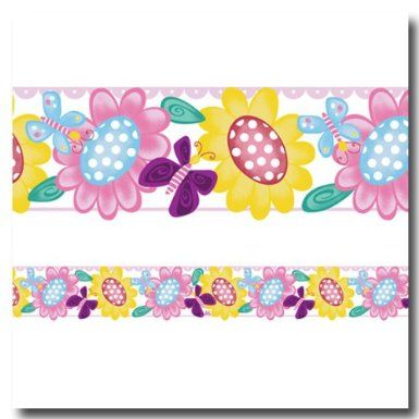 Amazon Com Butterfly Garden Self Adhesive Wallpaper Border
