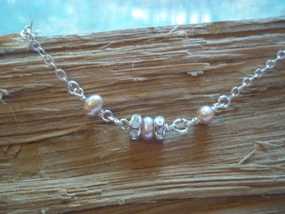 Bridal Jewelry Freshwater Pearl Anklet Sterling by ForEvaDesigns, $34.00