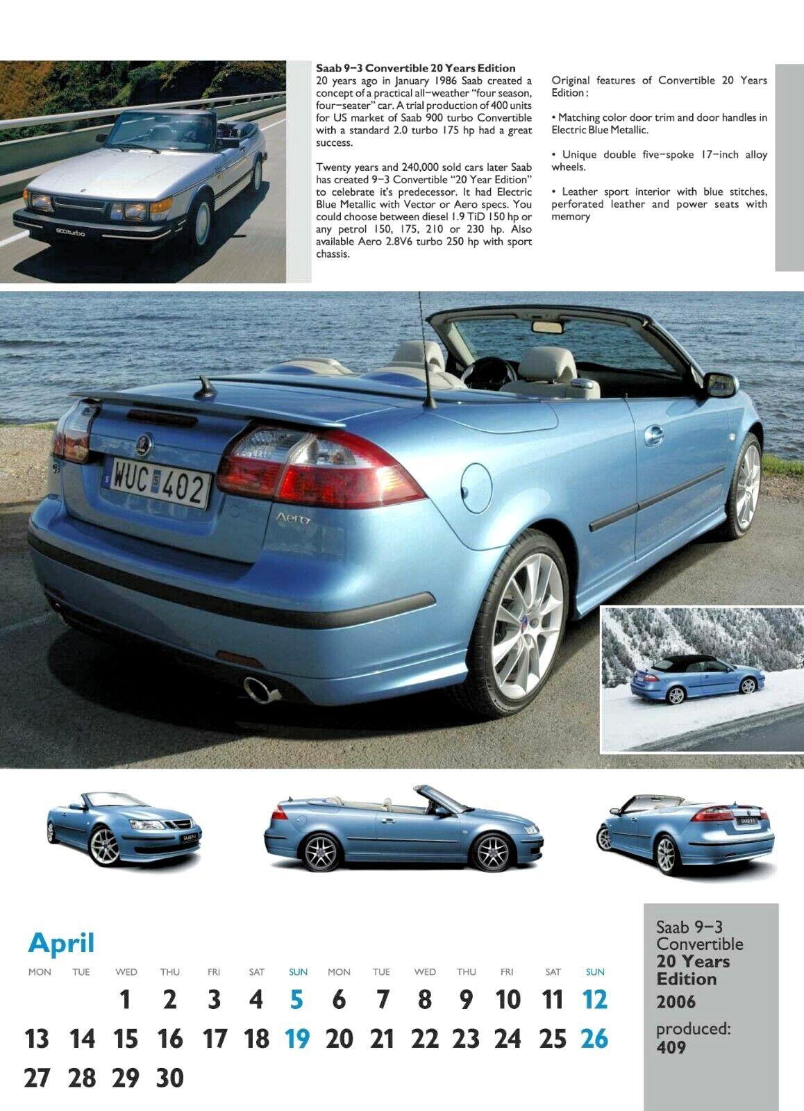SAAB Special Editions Calendar 2020, SAAB 93 Convertible