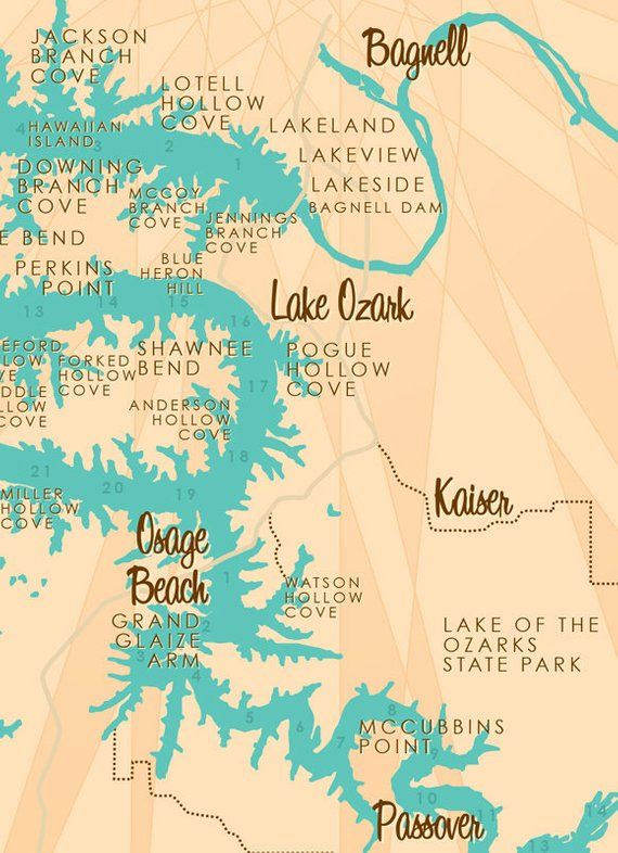 Lake Of The Ozarks Mile Marker Map Lake of the Ozarks, MO (with Mile Markers) Map Art Barrel End in