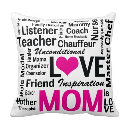 Mom is Love Pink and Black Mother\'s Day Throw Pillow | Mothers ...