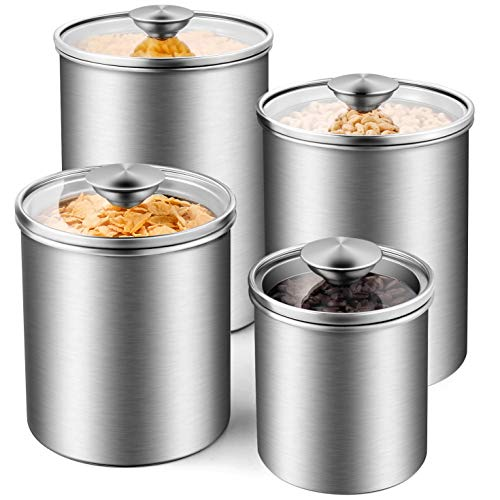Deppon Airtight Canister Set 4 Piece Stainless Steel Food Storage Container Best Offer Storagevat Com Food Storage Containers Stainless Steel Food Storage Airtight Canisters