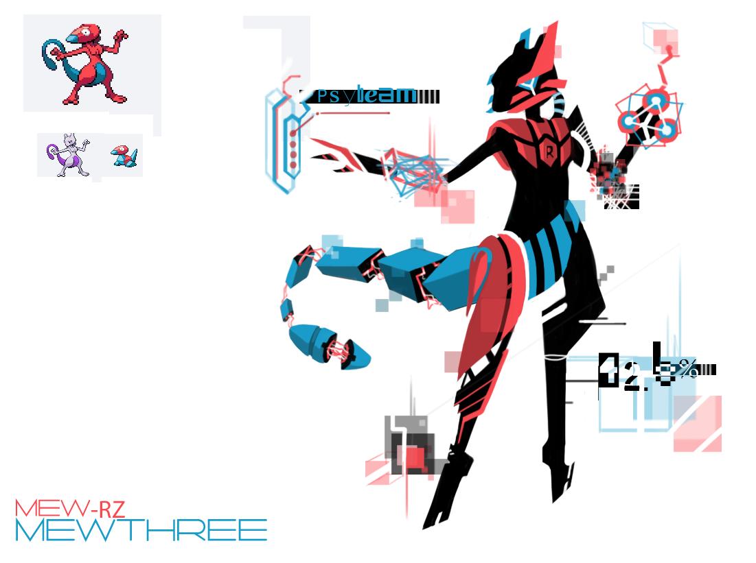 Pokemon Fusion 11 Mewthree (Porygon + Mewtwo) by BonnyJohn.deviantart.com on @deviantART