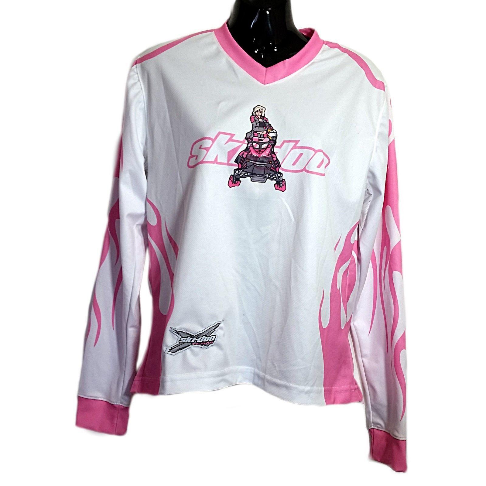 Pink White Skidoo X Team Jersey Shirt Brp Womens Size M Sport Long Sleeve F529 Jersey Shirt Long Sleeve Tshirt Men Long Sleeve