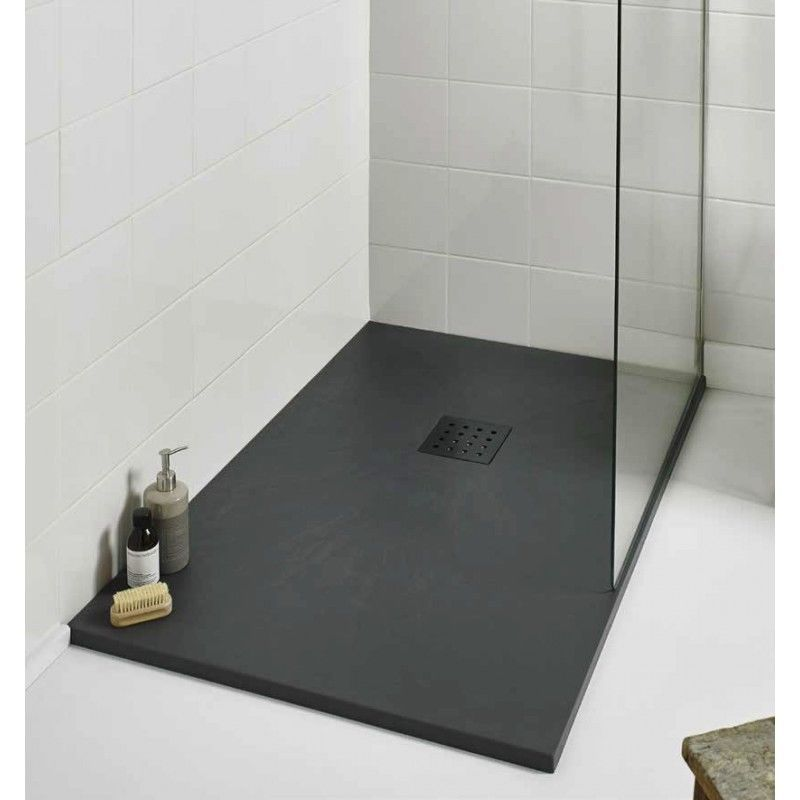 1200 x 800 Modern Rectangle Shower Enclosure Tray Black Slate Effect ...