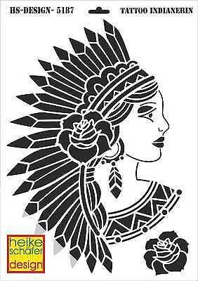 Schablone A3 Art Nr 5187 Tattoo Indianerin Heike Schafer Schablonen Prageschablonen Pragemaschine