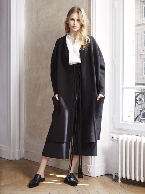 veste longue en laine grise maje collection 2015