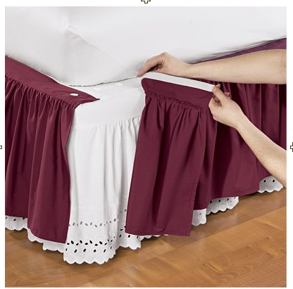 bed skirt... just the fringe part... no need for extra fabric...
