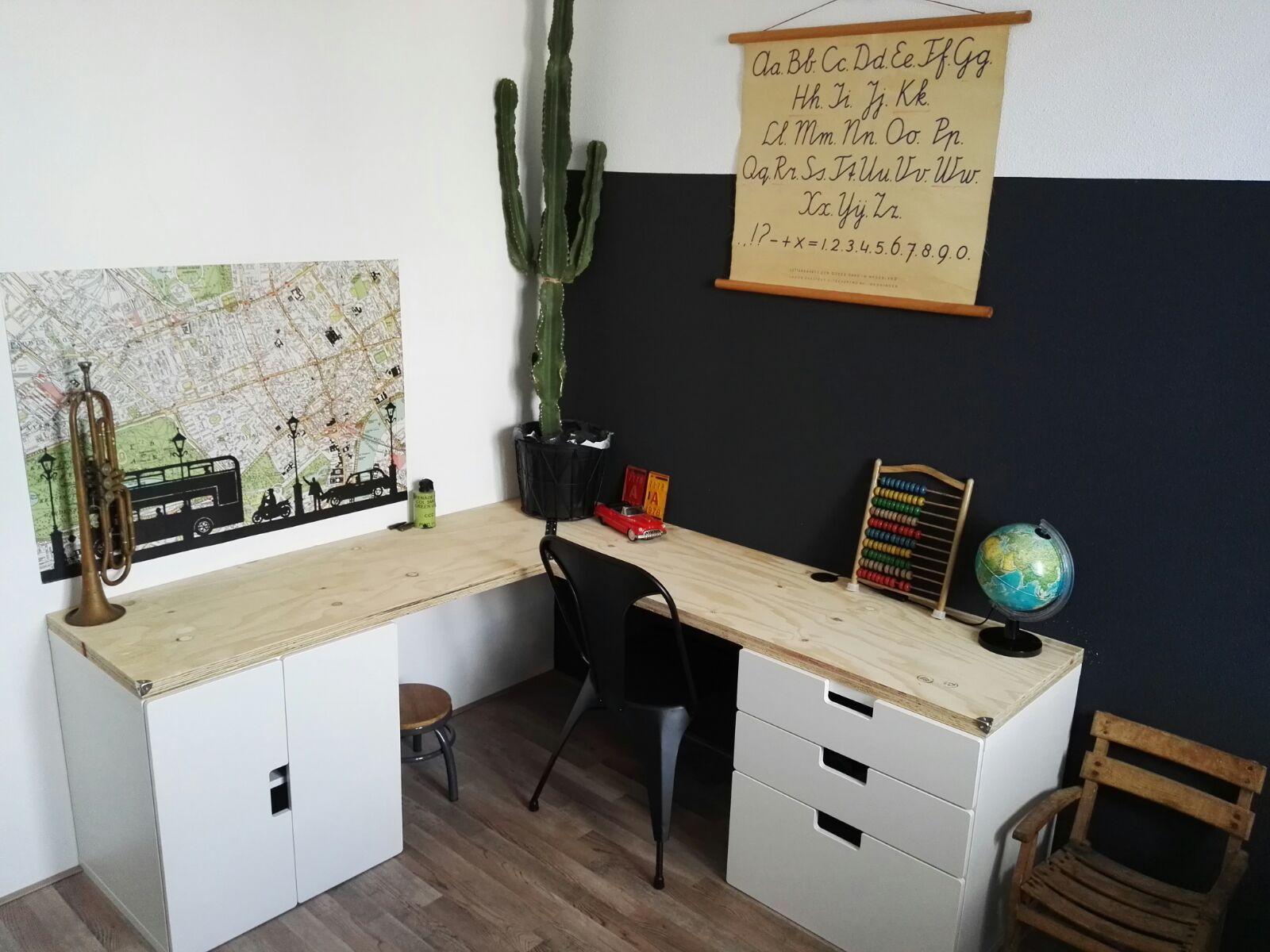 Ikea stuva desk boys room industrieel camera luca