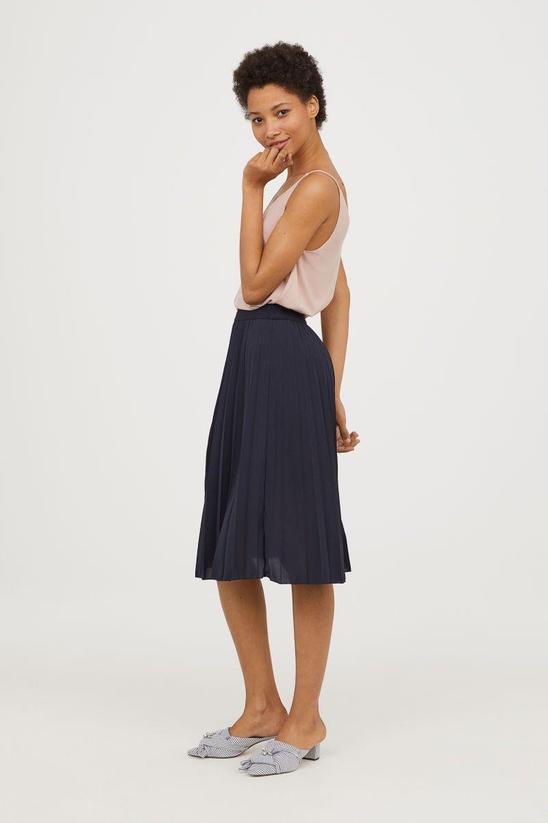 9bf9aaa9c1 Dark blue. Pleated, calf-length skirt in satin with an elasticized  waistband. Lined.