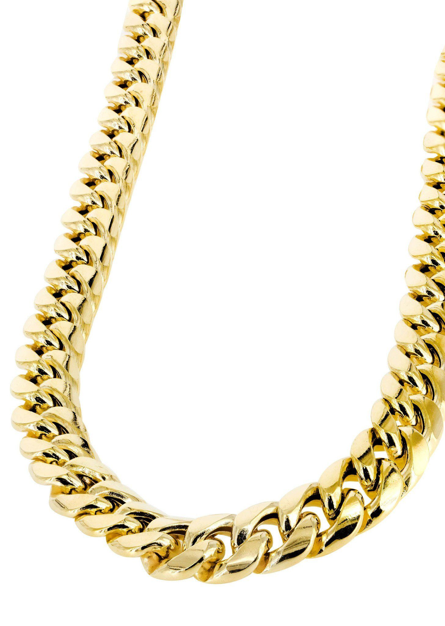 Gold Chain Mens Hollow Miami Cuban Link Chain 10k Gold In 2020 Gold Chains For Men 14k White Gold Chain White Gold Chains