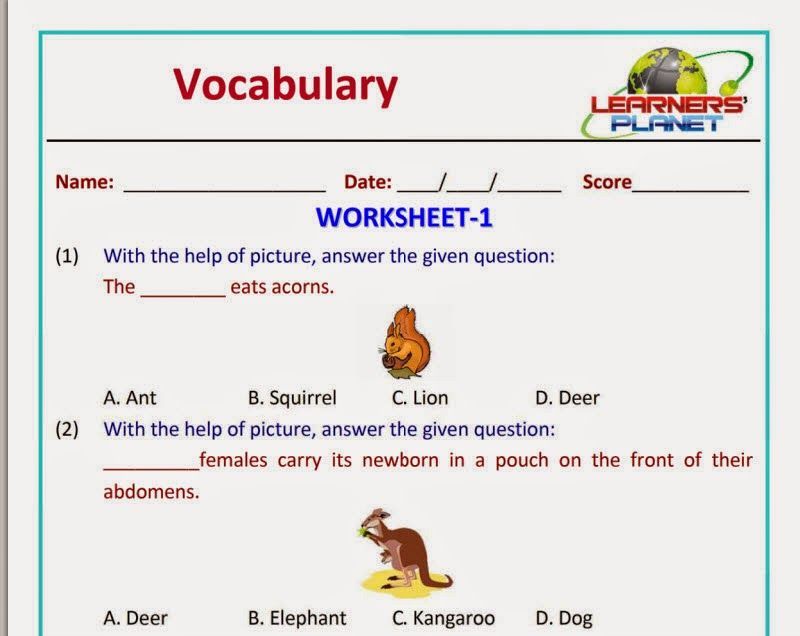 Olympiad English Vocabulary Worksheet Grade 1 Learners