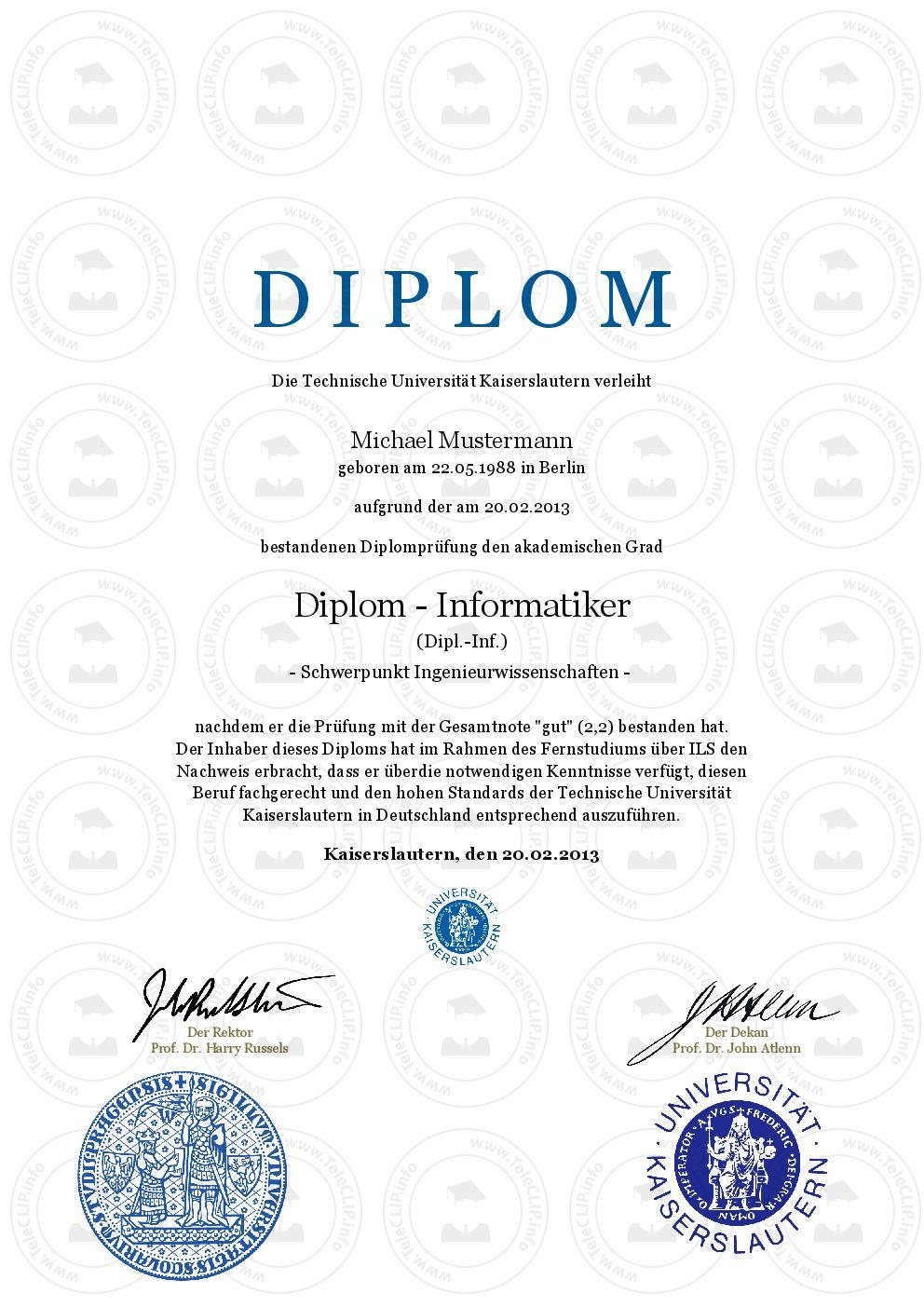 Diplom kaufen Technische Universität Kaiserslautern   Aktuelle ...