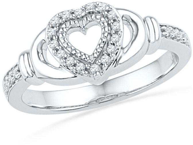 Zales 1/10 CT. T.w. Diamond Geometric-Shape Ring in Sterling Silver q6YKJ1