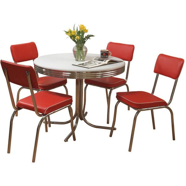 TMS Retro 5 Piece Dining Set ($320) ❤ Liked On Polyvore Featuring Home