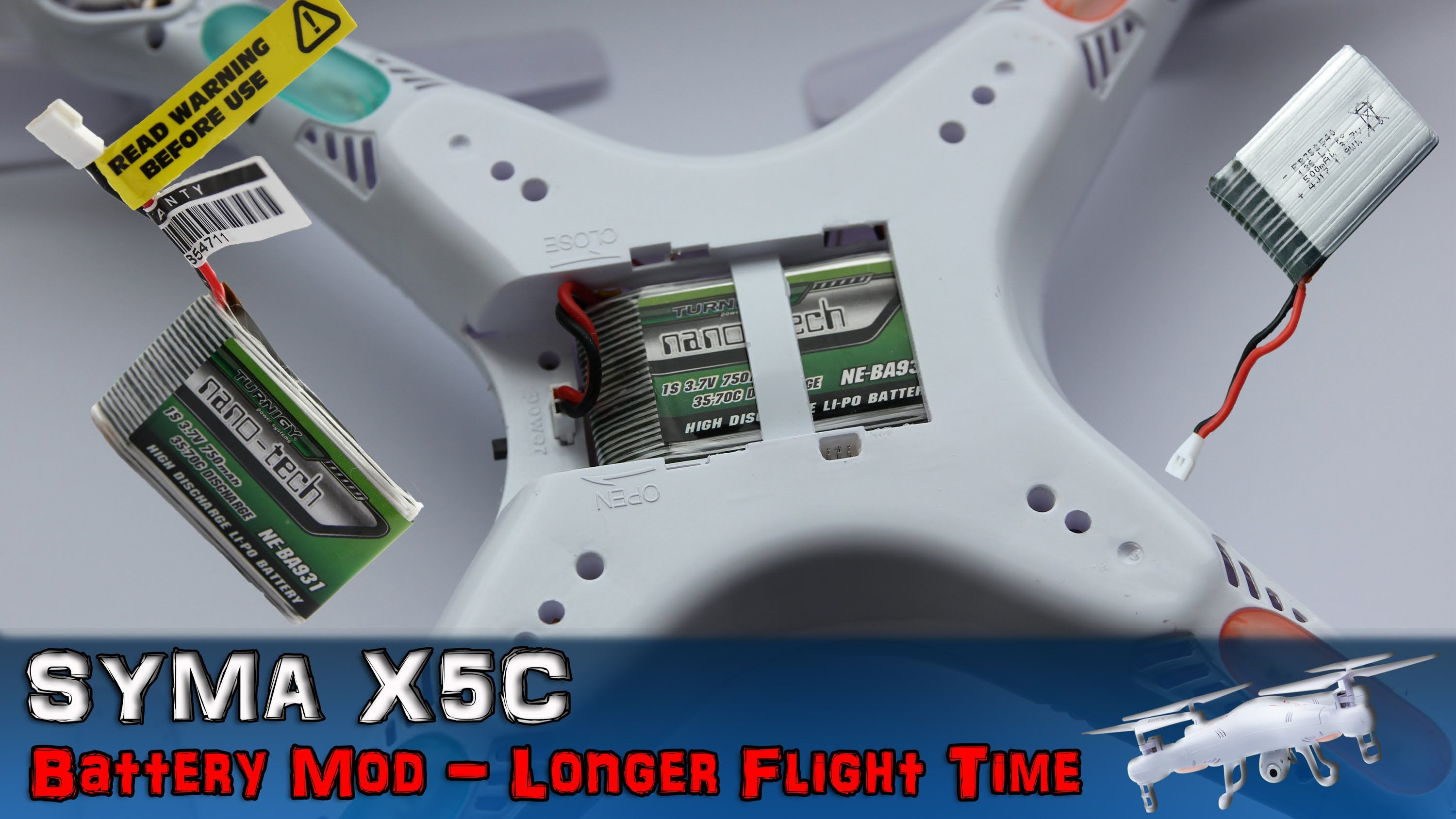 Syma X5C - Battery Mod Longer Flight Time To 15 Min  Hack Step by