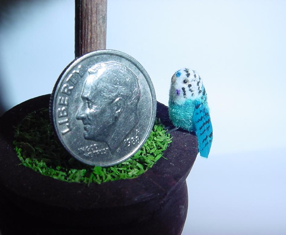 1:12 Scale Dollhouse Miniature Blue & White Parakeet by June Girardi