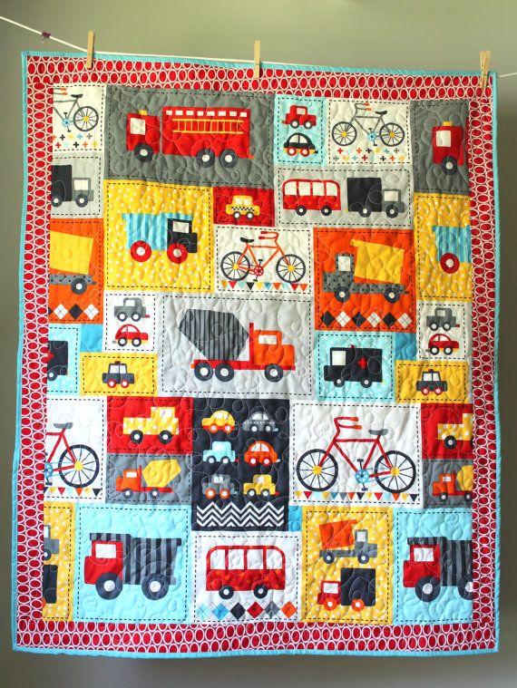 Truck Quilt- Transportation Quilt- Boy Quilt-Trucks, Bikes, Cars- Boy Toddler Quilt- Truck Bedding-Transportation theme- Homemade Baby Quilt