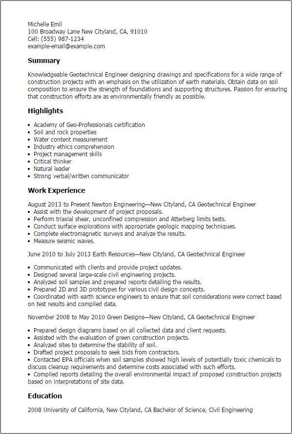 Security Cover Letter Professional Geotechnical Engineer Templates Showcase Your Talent