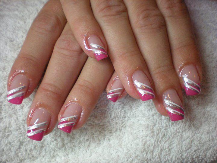 Striped French Nail Design Nail Art Nail Art