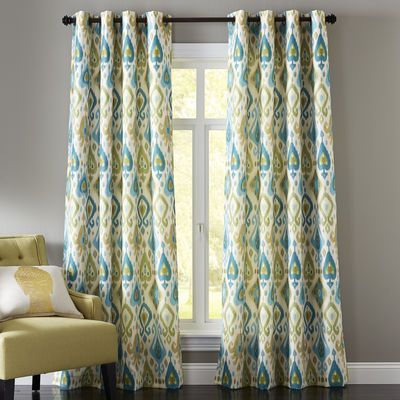 Ikat Grommet Blue Amp Green Curtain Green Curtains Ikat
