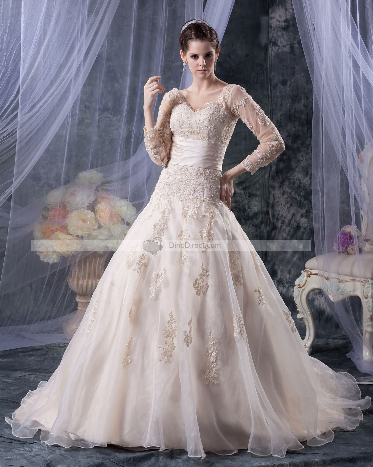 Vneck organza applique u beading long sleeve aline wedding dress
