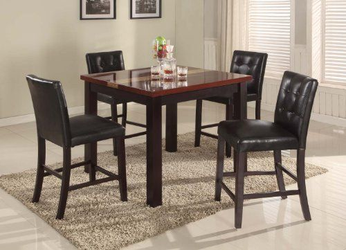 5 Piece Artificial Burgundy Marble Bar Set Table With 4