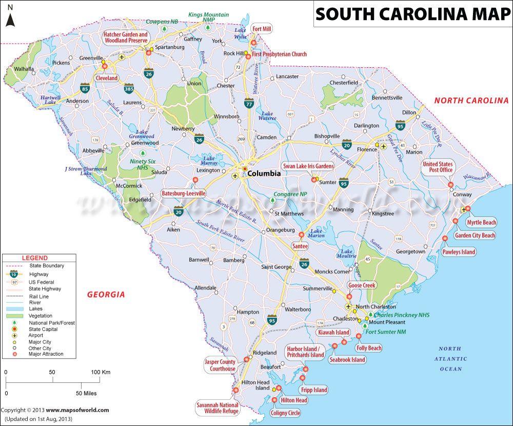South Carolina Sc Map With Images South Carolina Map Usa Map