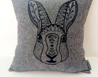 "Scandinavian Rabbit cotton / linen hand screen printed pillow / cushion cover 14""x14"". Black + white stripes, decorative textile."