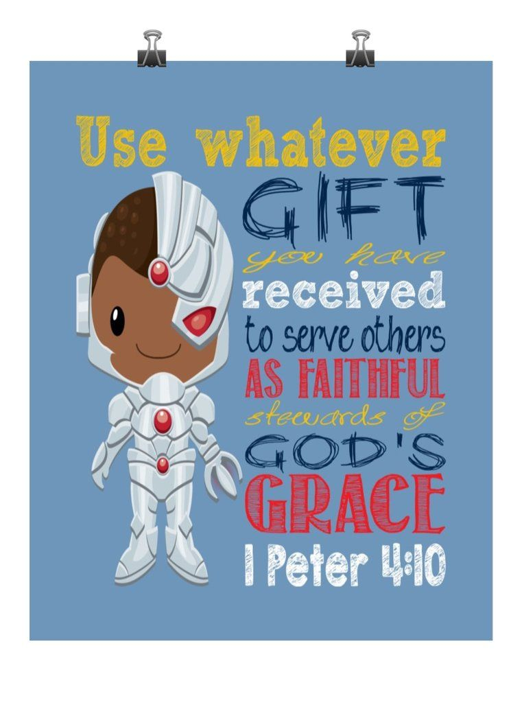 Cyborg Superhero Christian Nursery Decor Print Use Whatever Gift You Have Received 1 Peter 4 10 Superhero Nursery Christian Nursery Decor Bible Heroes