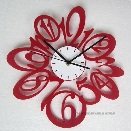 Red Clock On Bright White Wall