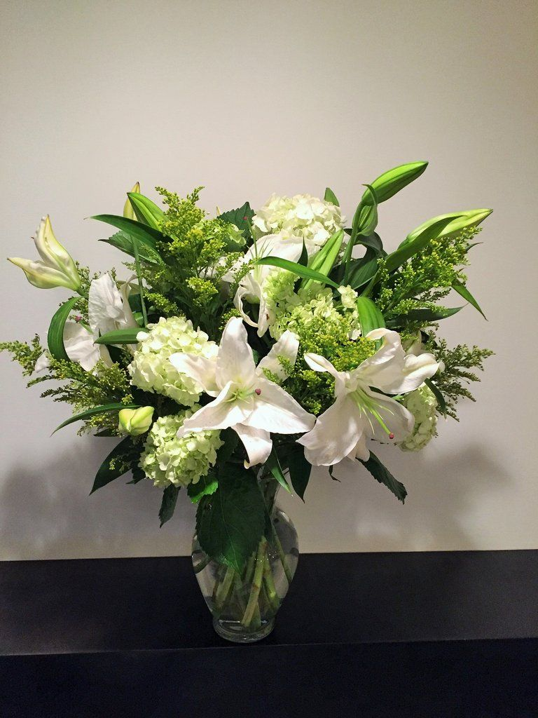 White Lily Flower Arrangement Paired With White And Green Hydrangea